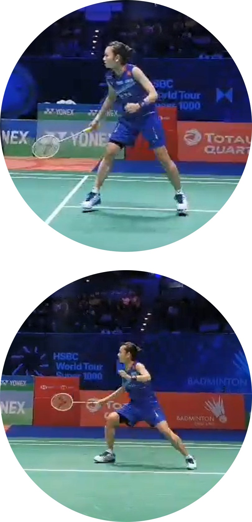 Badminton stance : forward attacking